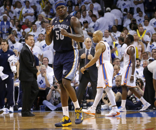 Memphis' Zach Randolph (50) reacts during Game 5 in the second round of the NBA playoffs between the Oklahoma City Thunder and the Memphis Grizzlies at Chesapeake Energy Arena in Oklahoma City, Wednesday, May 15, 2013. Memphis won 88-84.  Photo by Bryan Terry, The Oklahoman