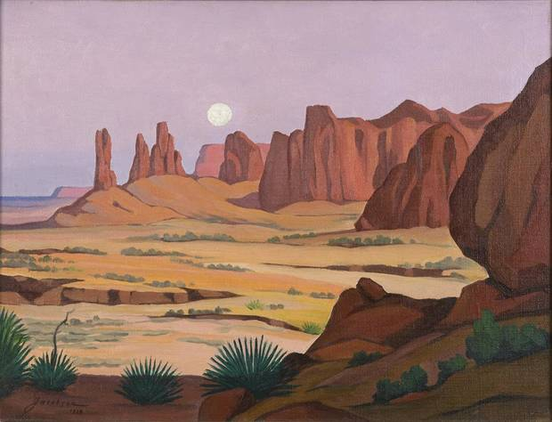�In the Navajo Country� is one of the paintings by Oscar Brousse Jacobson that will be included in an exhibition of his work at the Fred Jones Jr. Museum of Art. PHOTOS PROVIDED