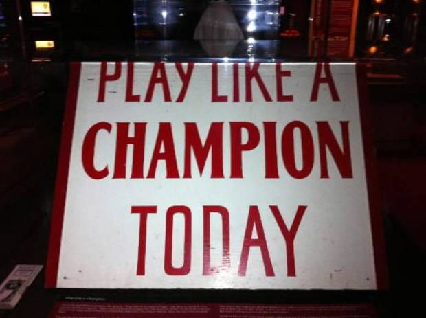 Oklahoma's 'Play Like a Champion Today' sign on display in the Switzer Center. Photo courtesy OU Athletics Communications