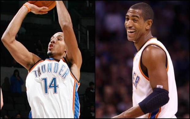 Two Thunder players who have high basketball IQs are Shaun Livingston (left) and Kevin Ollie. Left photo by Chris Landsberger, The Oklahoman; right photo by Hugh Scott, The Oklahoman