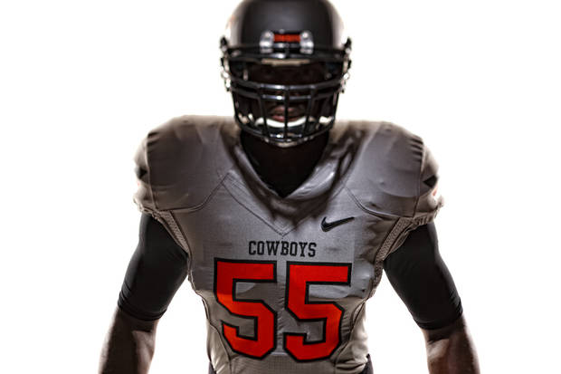 Oklahoma State's new football uniforms. Pictured here are the silver jersey and the silver helmet. PHOTO PROVIDED