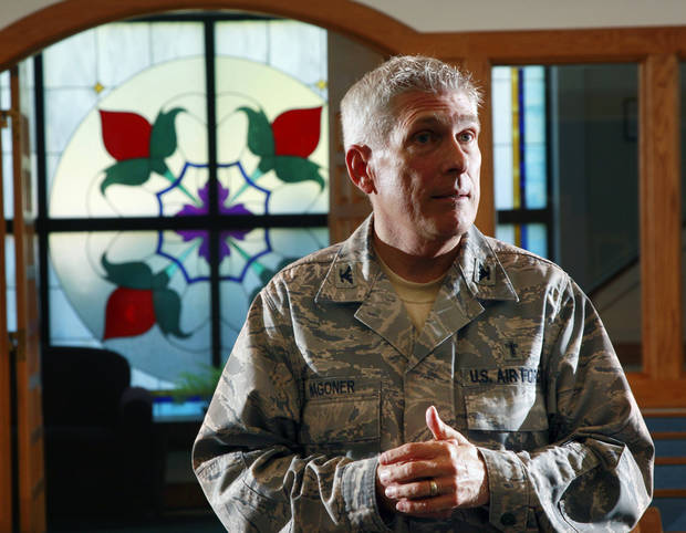 U.S. Air Force chaplain Col. Timothy Wagoner stands in the McGuire Air Force Base chapel.AP Photo