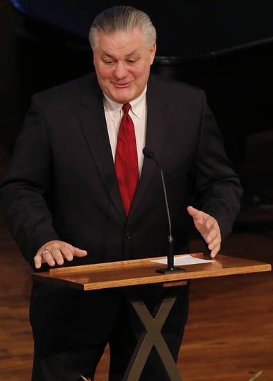 Former teammate John Roush speaks during the funeral services for former University of Oklahoma football player Steve Davis at the First Baptist Church on Monday, March 25, 2013, in Tulsa, Okla. Davis died in a plane crash last week in Indiana. Photo by Chris Landsberger, The Oklahoman