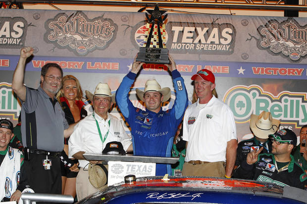 Ricky Stenhouse Jr. celebrates in victory lane after winning the NASCAR Nationwide Series auto race, Friday, April 13, 2012, in Fort Worth, Tex. (AP Photo/Autostock, Russell LaBounty) MANDATORY CREDIT ORG XMIT: TXNK344