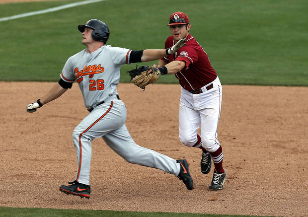 Oklahoma State's Zach Fish is tagged out by Oklahoma's Garrett Carey during the Bedlam baseball game between the University of Oklahoma and Oklahoma State University at the Chickasaw Bricktown Ballpark in Oklahoma CIty, Saturday, May 11, 2013. Photo by Sarah Phipps, The Oklahoman