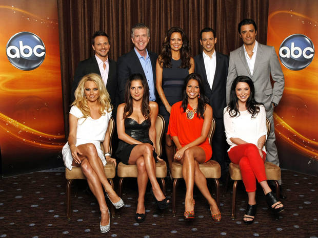 "2012 TCA SUMMER PRESS TOUR - ""Dancing with the Stars: All-Stars"" Session - Pamela Anderson, Drew Lachey, Kelly Monaco, Tom Bergeron, Brooke Burke-Charvet, Melissa Rycroft, Helio Castroneves, Bristol Palin and Gilles Marini at Disney/ABC Television Group's Summer Press Tour. (ABC/RICK ROWELL)"
