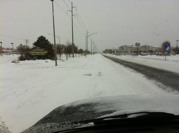EDMOND -- Snowy view entering the Edmond city limits on South Broadway. PHOTO PROVIDED EDMOND POLICE DEPARTMENT.
