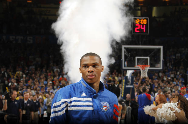 Oklahoma City Thunder point guard Russell Westbrook (0) looks on during pre game during the NBA basketball game between the Oklahoma City Thunder and the Los Angeles Clippers at Chesapeake Energy Arena on Wednesday, March 21, 2012 in Oklahoma City, Okla.  Photo by Chris Landsberger, The Oklahoman