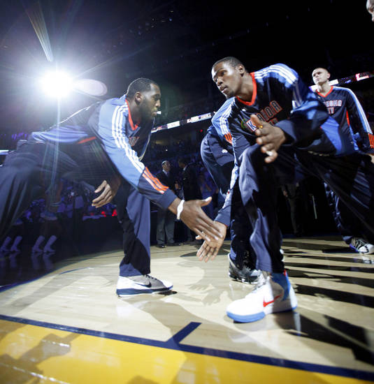 Oklahoma City's Kevin Durant (35) is introduced before the preseason NBA basketball game between the Oklahoma City Thunder and CSKA Moscow in Oklahoma City, Thursday, October 14, 2010. Photo by Bryan Terry, The Oklahoman