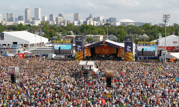 Bruce Springsteen and the E Street Band play at the 2012 New Orleans Jazz and Heritage Festival on Sunday, April 29, 2012. (AP Photo/The Times-Picayune, David Grunfeld) MAGS OUT; NO SALES; USA TODAY OUT