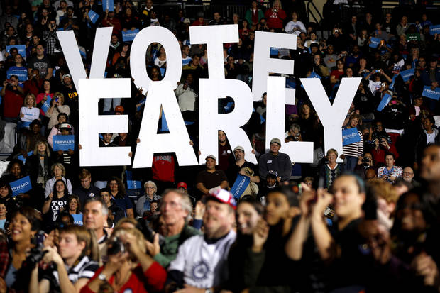 "FILE - This Oct. 29, 2012 file photo shows a""Vote Early"" sign as former President Bill Clinton spoke at a President Barack Obama campaign rally in Youngstown, Ohio. Stock up on munchies and make sure the batteries in your TV remote are fresh. With this year's presidential election razor-close to the finish, Tuesday could be a long night. Even if the presidency isn't decided until after midnight EST, there will be plenty of clues early in the evening on how things are going for President Barack Obama and Republican Mitt Romney. Obama has more options for piecing the 270 electoral votes needed for victory, so any early setbacks for Romney could be important portents of how the night will end. (AP Photo/Matt Rourke, File)"