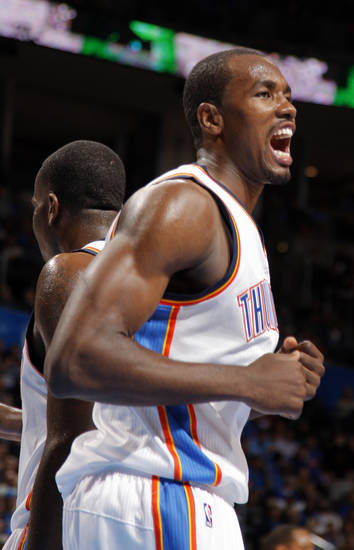 Oklahoma City's Serge Ibaka (9) celebrates during the NBA basketball game between the Oklahoma City Thunder and the Cleveland Cavaliers at the Chesapeake Energy Arena, Sunday, Nov. 11, 2012. Photo by Sarah Phipps, The Oklahoman