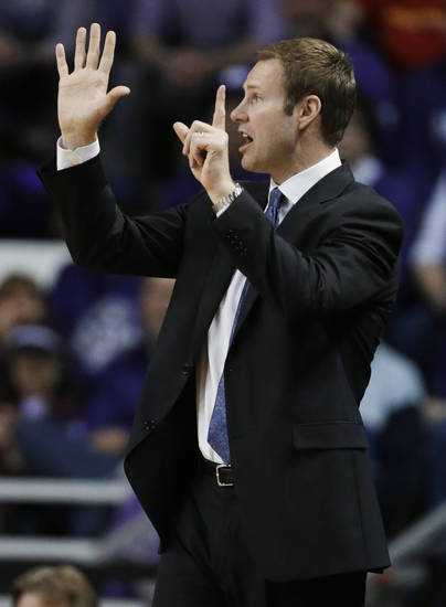 Iowa State coach Fred Hoiberg calls a play during the first half of an NCAA college basketball game against Kansas State in Manhattan, Kan., Saturday, Feb. 9, 2013. (AP Photo/Orlin Wagner)