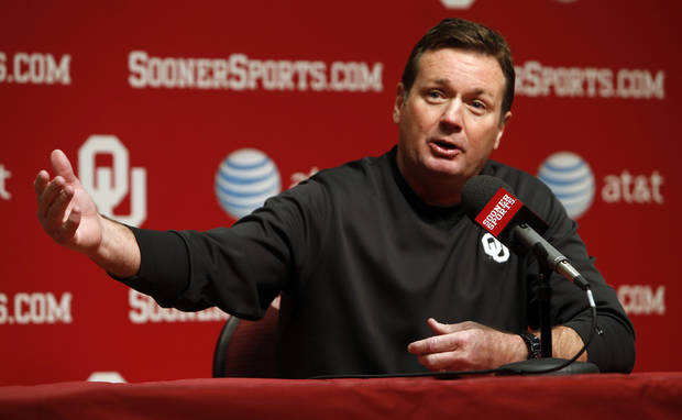 Bob Stoops, Josh Heupel and Mike Stoops talks with the press before the start of Spring Football at the University of Oklahoma (OU) on Thursday, March 7, 2013 in Norman, Okla.  Photo by Steve Sisney, The Oklahoman
