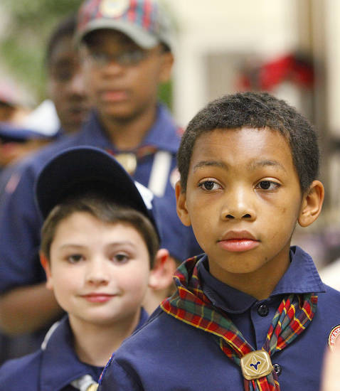 David is shown at the Cub Scout pack meeting at Villa Teresa School.