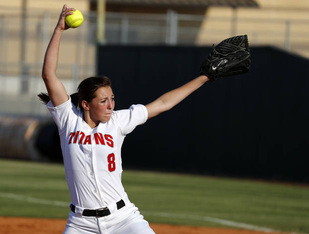 Carl Albert's Abby Meador pitches against Guthrie during a high school softball game against in Midwest City, Okla., Tuesday, September 18, 2012. Photo by Bryan Terry, The Oklahoman