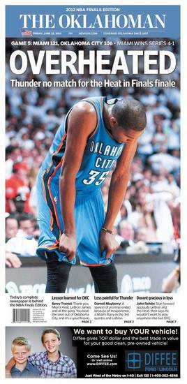 The Oklahoman, June 22, 2012, after the Thunder&#039;s Game 5 loss to the Miami Heat in the NBA Finals.