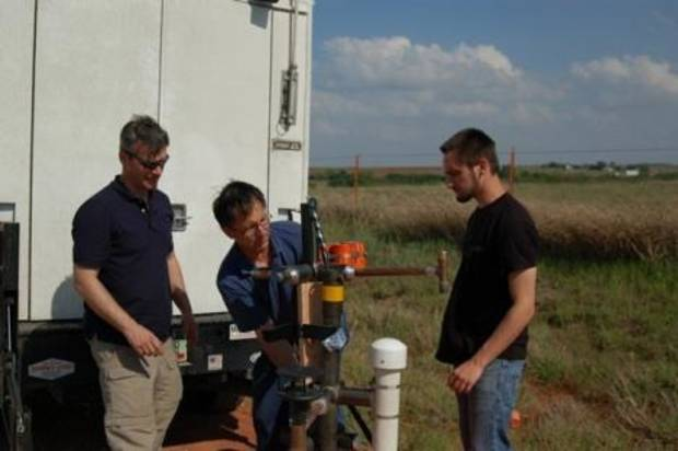From left, Carl Young, Tim Samaras and Paul Samaras.- Discovery Channel Photo