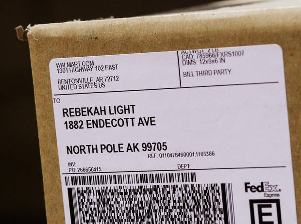 This package carries a shipping label to North Pole, Alaska. It was among packages at the FedEx shipping center Oklahoma City on Monday,  Dec. 12, 2011.    Photo by Jim Beckel, The Oklahoman