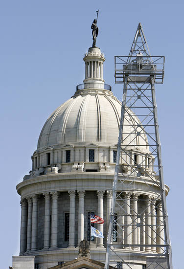 Derricks near the state Capitol reflect Oklahoma City�s rich energy heritage. Oklahoman archive photo