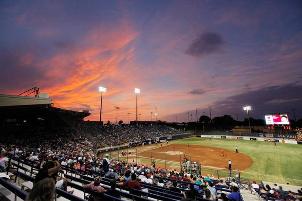 The sun sets during the championship game of the World Cup of Softball between the USA and Japan at ASA Hall of Fame Stadium in Oklahoma City, Monday, July 25, 2011. Photo by Nate Billings, The Oklahoman