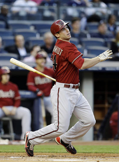 Arizona Diamondbacks' Paul Goldschmidt hits a first-inning, two-run home run off New York Yankees starting pitcher CC Sabathia in a baseball game at Yankee Stadium in New York, Wednesday, April 17, 2013. (AP Photo/Kathy Willens)