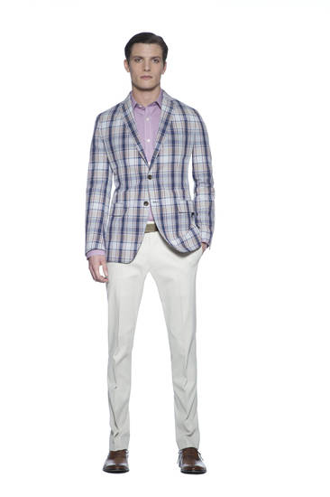 From Banana Republic's Mad Men spring 2013 collection,  slim white pants, a pink check shirt and madras sport coat create a casual, slim look perfect for spring and summer. Photo provided. <strong>Greg Kessler</strong>