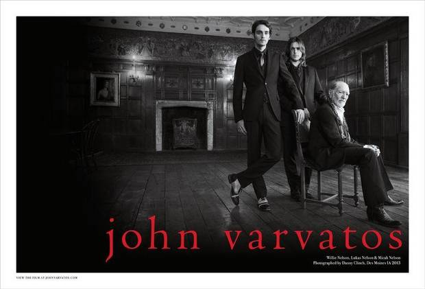 Willie Nelson with his two sons in the new John Varvatos menswear ad campaign.