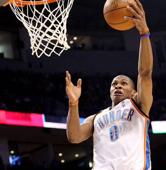 Oklahoma City's Russell Westbrook takes a shot against Toronto during their NBA basketball game at the Ford Center in Oklahoma City on Sunday, Feb. 28, 2010. Photo by John Clanton, The Oklahoman