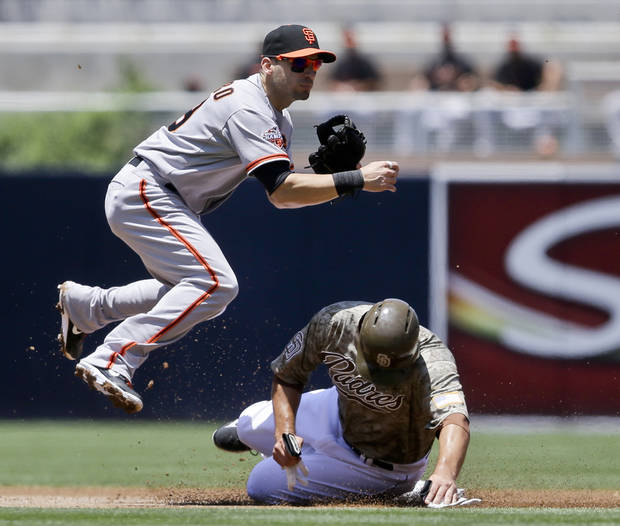 San Francisco Giants second baseman Marco Scutaro hurdles San Diego Padres' Carlos Quentin while relaying to first to complete a double play in the first inning of a baseball game in San Diego, Sunday, July 14, 2013. Chase Headley was out at first.  (AP Photo/Lenny Ignelzi)