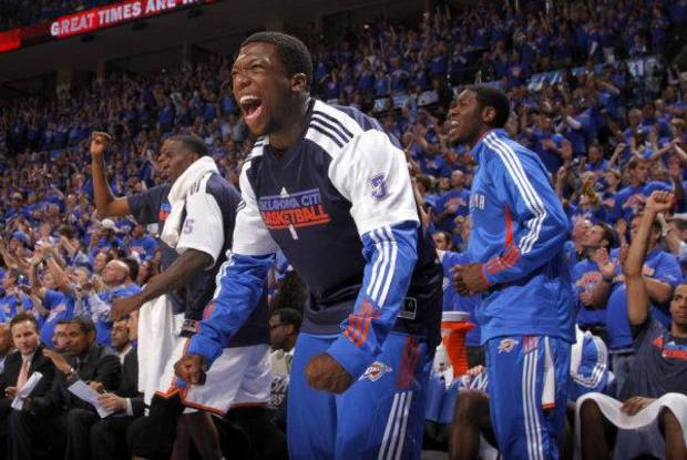 Oklahoma City's Nate Robinson  celebrates during game 7 of the NBA basketball Western Conference semifinals between the Memphis Grizzlies and the Oklahoma City Thunder. PHOTO BY SARAH PHIPPS, The Oklahoman <strong>SARAH PHIPPS</strong>