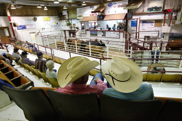 Lane Bates, of Slapout, left, and Raymond Halliburton, Slapout watch cattle being run  through in the sale arena at the Woodward Livestock Auction on Tuesday, July 26, 2011.   This summer's drought has led many ranchers and producers to sell their cattle early.  On a recent Tuesday, about seven times the normal  number of cattle were sold at Woodward Livestock Auction .  Lack of rain and a string of days when temperatures exceeded  100 degrees have created extreme conditions for farmers, ranchers and citizens of many communities in western Oklahoma.   by Jim Beckel, The Oklahoman.