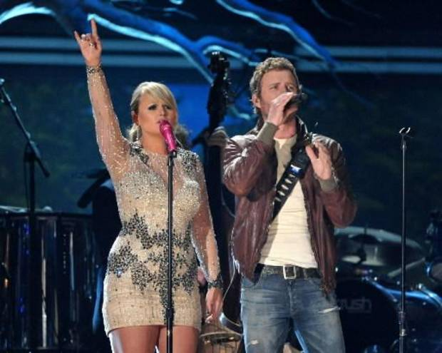 Tishomingo resident Miranda Lambert, left, and Dierks Bentley perform at the 55th annual Grammy Awards on Sunday, Feb. 10, 2013, in Los Angeles. (AP photos)