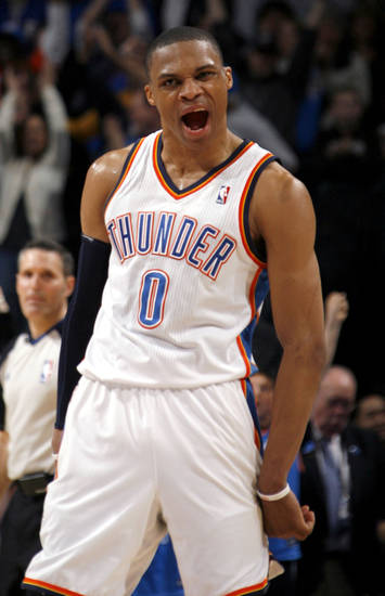 Oklahoma City's Russell Westbrook (0)celebrates during the NBA game between the Oklahoma City Thunder and the Portland Trailblazers, Sunday, March 27, 2011, at the Oklahoma City Arena. Photo by Sarah Phipps, The Oklahoman