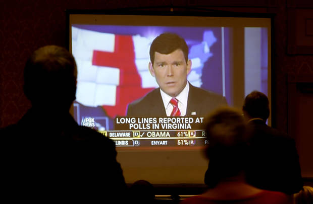 People watch election results during the Oklahoma Republican watch party in Oklahoma City,  Tuesday, Nov. 6, 2012. Photo by Sarah Phipps, The Oklahoman