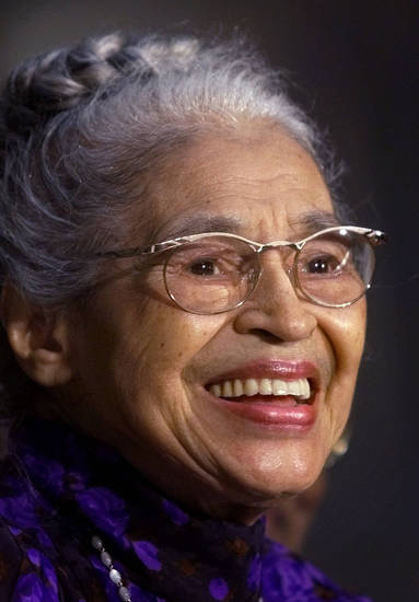 FILE -- In a June 15, 1999 file photo Rosa Parks smiles during a Capitol Hill ceremony where  Parks was honored with the Congressional Gold Medal in Washington.   Parks will become the first black woman to be honored with a full-length statue in the Capitol�s Statuary Hall on Wednesday Feb. 27, 2013.   (AP Photo/Khue Bui)