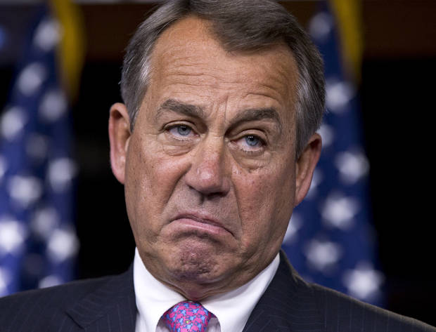 In this Feb. 28, 2013, photo, House Speaker John Boehner of Ohio pauses while meeting with reporters during a news conference on Capitol Hill in Washington, to answer questions about the impending automatic spending cuts that take effect March 1.  (AP Photo/J. Scott Applewhite)
