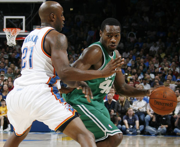 Boston's Tony Allen tries to get the ball around Damien Wilkins of the Thunder in the second half during the NBA basketball game between the Oklahoma City Thunder and the Boston Celtics at the Ford Center in Oklahoma City, Wednesday, Nov. 5, 2008. Boston won, 96-83. BY NATE BILLINGS, THE OKLAHOMAN