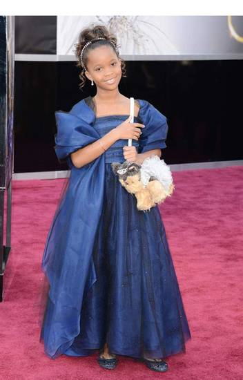 Quvenzhane Wallis wore a gorgeous blue dress and shawl with sparkly black tulle accents by Georgio Armani, jewels by  Forevermark Diamonds and a puppy purse from Poochie & Co., appropriately dressed in a light blue tutu and dazzling tiara.Photo provided. <strong></strong>