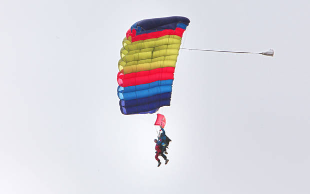Ed Lamb, 88, makes a tandem parachute jump with instructor Andy Beck.