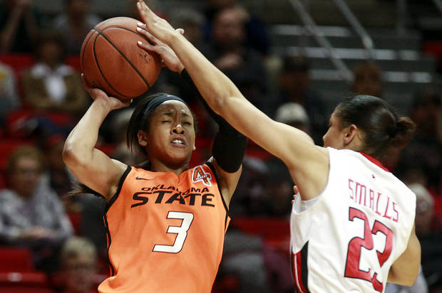 Texas Tech's Monique Smalls, right, looks to block a shot by Oklahoma State's Tiffany Bias during their NCAA college basketball game in Lubbock, Texas, Wednesday, Feb. 27, 2013. (AP Photo/The Avalanche-Journal, Stephen Spillman)