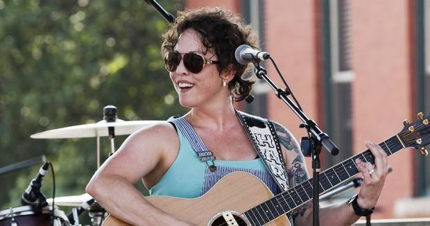 Norman singer/songwriter Camille Harp performs on the downtown stage in Guthrie during the Gentlemen of the Road Stopover Friday, September 6, 2013. Photo by Nathan Poppe, The Oklahoman Archive