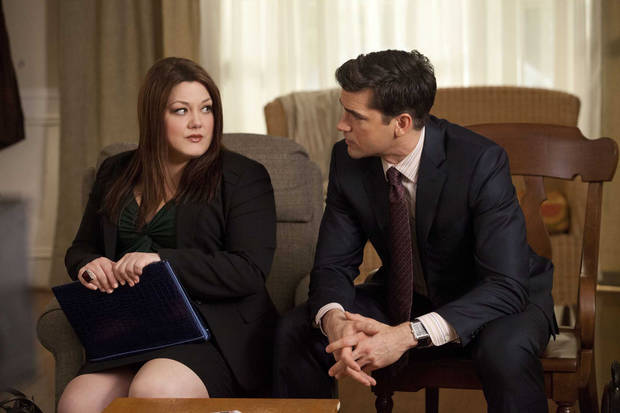 "Brooke Elliott and Jackson Hurst in ""Drop Dead Diva"" - Lifetime Photo"