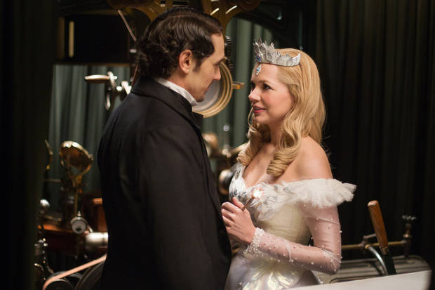 "This film image released by Disney Enterprises shows James Franco, left, and Michelle Williams in a scene from ""Oz the Great and Powerful."" (AP Photo/Disney Enterprises, Merie Weismiller Wallace)  ORG XMIT: NYET929"