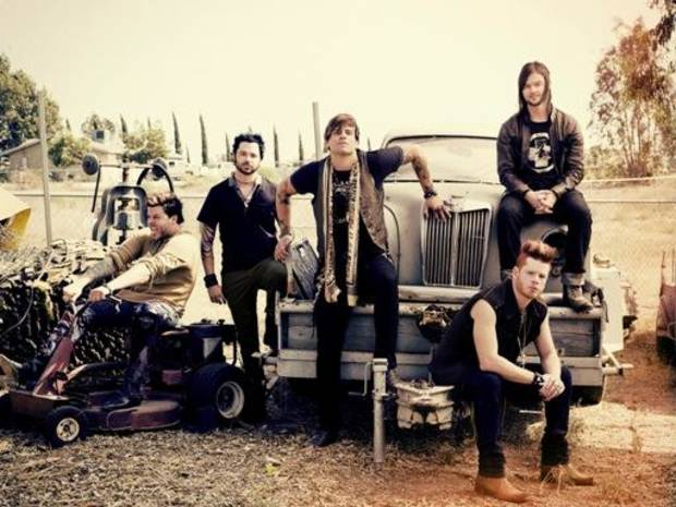 Oklahoma City rockers Hinder are show in a publicity photo. The band announced Wednesday it was parting ways with lead singer Austin Winkler, center, and plans to continue with a new singer, who has not yet been announced. Photo provided.