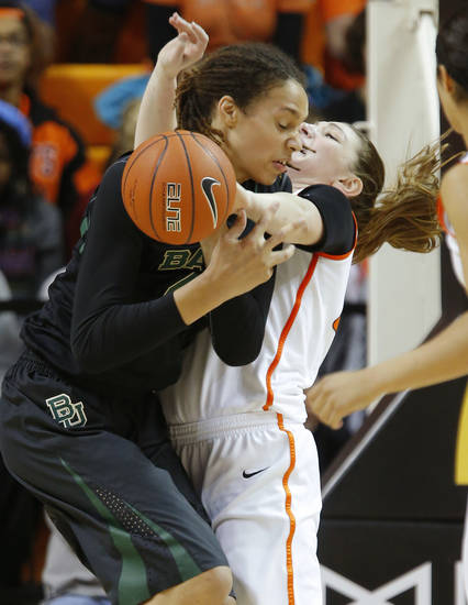 Baylor's Brittney Griner (42) runs into Oklahoma State's Lindsey Keller (25) during a women's college basketball game between Oklahoma State University and Baylor at Gallagher-Iba Arena in Stillwater, Okla., Saturday, Feb. 2, 2013. Photo by Bryan Terry, The Oklahoman