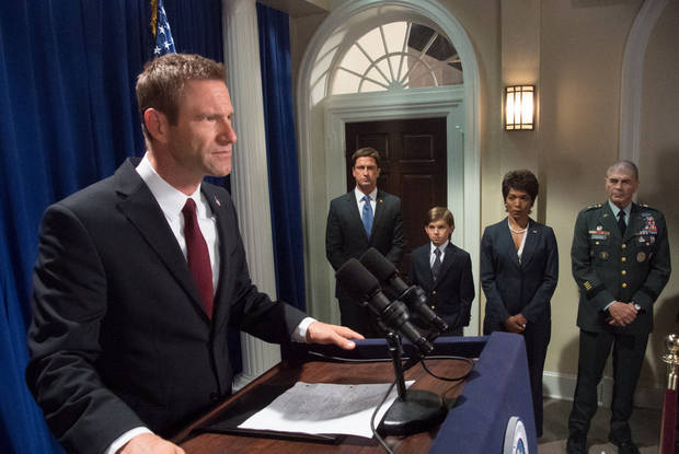 From left, Aaron Eckhart, Gerard Butler, Finley Jacobsen, Angela Bassett and Robert Forster in a scene from �Olympus Has Fallen.� FILMDISTRICT PHOTO