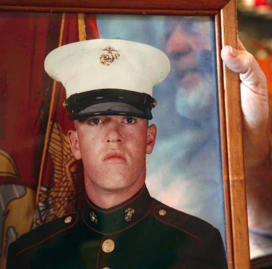 Lance Cpl. Thomas A. Blair is shown in this photo at his father's home in Gravette, Ark. <strong>Jim Beckel</strong>