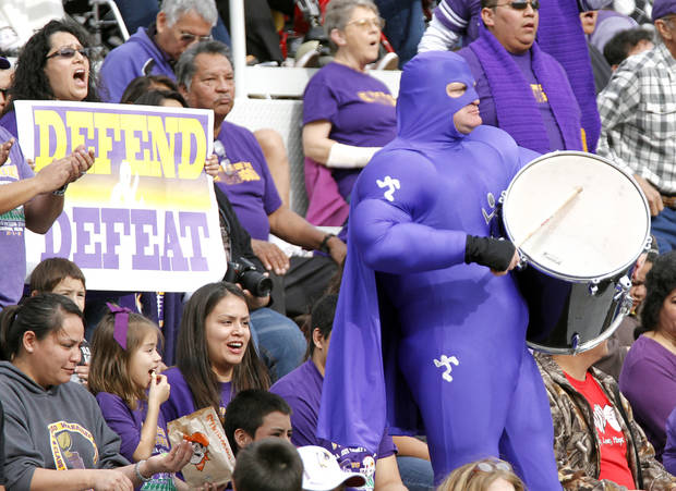 The Anadarko fans cheer on their team during the Class 4A Oklahoma state championship football game between Anadarko and Clinton at Boone Pickens Stadium on Saturday, Dec. 1, 2012, in Stillwater, Okla.   Photo by Chris Landsberger, The Oklahoman