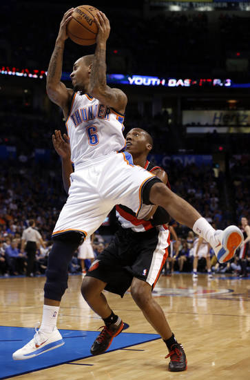 Oklahoma City Thunder's Eric Maynor (6) gets a rebound as the Oklahoma City Thunder defeat the Portland Trail Blazers 106-92 in NBA basketball at the Chesapeake Energy Arena in Oklahoma City, on Friday, Nov. 2, 2012.  Photo by Steve Sisney, The Oklahoman